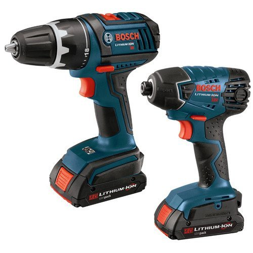 Bosch CLPK232-180 18-Volt Lithium-Ion 2-Tool Combo Kit with 1 2-Inch Drill Driver, Impact Driver, 2 Batteries, Charger and Case