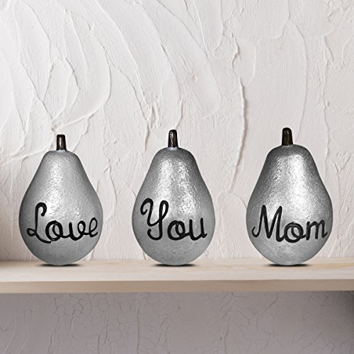 Holiday Pear - Gift for Mom - Love You Mom Pears - Mothers Day Birthday Present Christmas Decor Holidays - Metallic Silver by FOLE