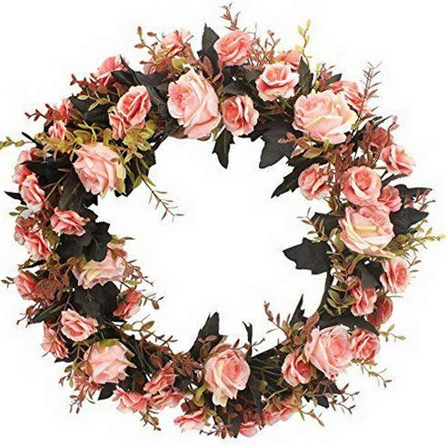 Mikash Rose Floral Twig Wreath 19 Inch Artificial Flowers Garland Door Pink   Model WRTH - 733]()