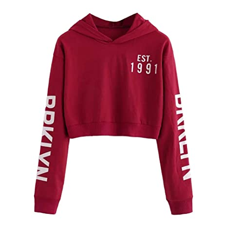 best wholesaler official shop latest Sweatshirt Femme Imprimé, LMMVP Femmes Sweat à Capuche Des Lettres Pullover  Sweat-shirt Chemisier Polyester (XS, vin rouge)