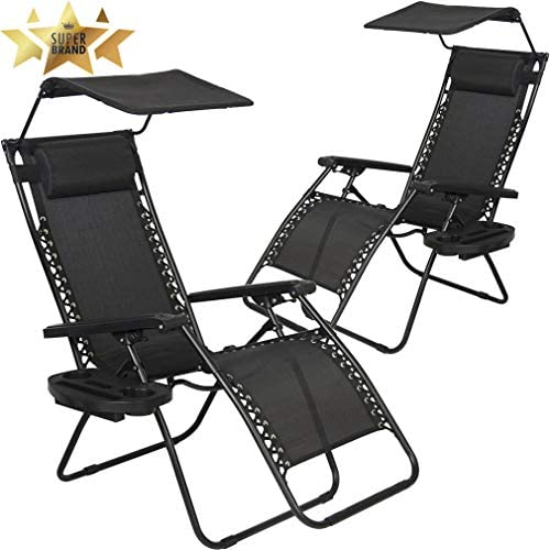 Best Choice Products Oversized Steel Mesh Zero Gravity Reclining Lounge Patio Chair w Folding Canopy Shade and Cup Holder, Gray