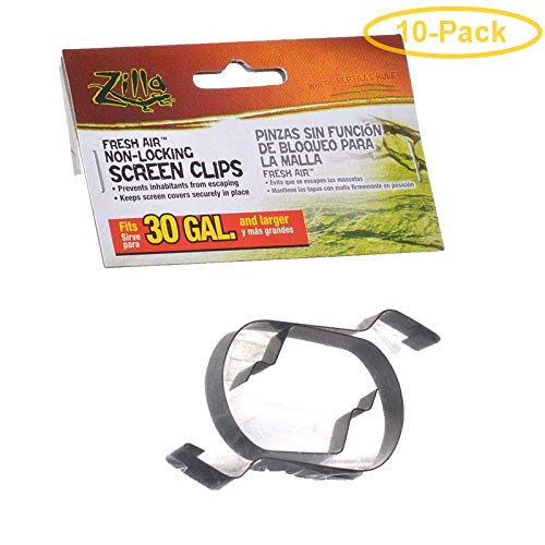 Zilla Fresh Air Non-Locking Screen Clips 30 Gallon Tanks and Up - Pack of 10 ()