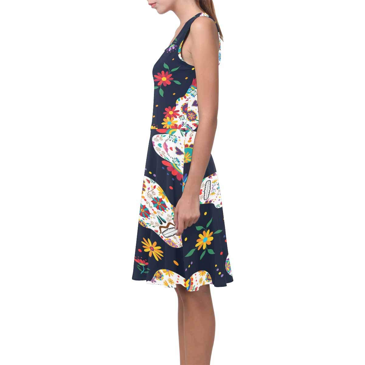 XS-3XL InterestPrint Womens Sleeveless Tank Dresses Sugar Skull Flowers Casual Flared Sundresses