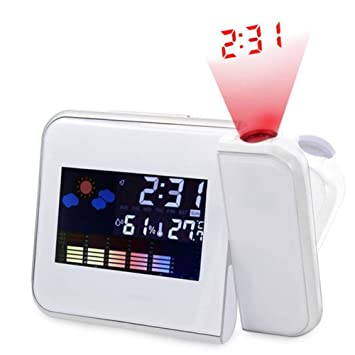 bqmqolove Creative Snooze Alarm Clock HD LCD Temperatura del Tiempo Fecha Noche Luz Pantalla Proyección Reloj de Alarma Despertador (White)