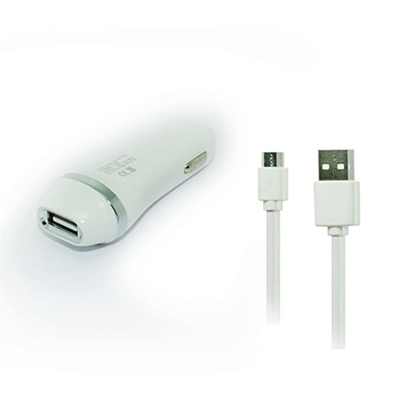 Universal 2.1A Micro USB CAR CHARGER (White) for Motorola DROID MAXX 2 XT1565