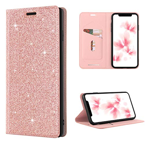 iPhone XS Max Wallet Case, BENTOBEN Cases for iPhone XS Max 6.5 Slim Glitter Shiny Kickstand Credit Card Holder Soft TPU PU Faux Leather Stylish Girl Women Phone Cover for iPhoneXs Max/Plus, Rose Gold