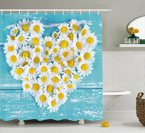 Ambesonne Yellow and Blue Shower Curtain, Heart Shaped Daisy Flowers Romantic Love Valentine