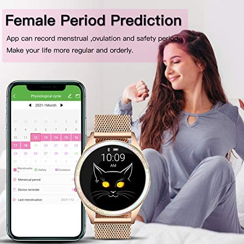 YOCUBY Smart Watch for Women,Bluetooth Fitness Tracker Compatible with iPhone,Android Phone, Female Sport Smartwatch Calorie Counter Pedometer, Lady Activity Tracker with Sleep Monitor, Heart Rate 5