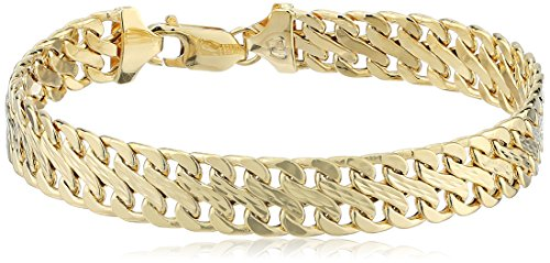 - 14k Italian Yellow Gold 9.0mm Fancy Stamp Link Bracelet, 7.5