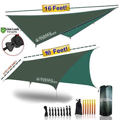 - Roman Ventures Hammock RAIN Fly Tent TARP Waterproof Camping Shelter. Lightweight Ripstop Nylon & Not Polyester. Stakes Included. (Dark Green)