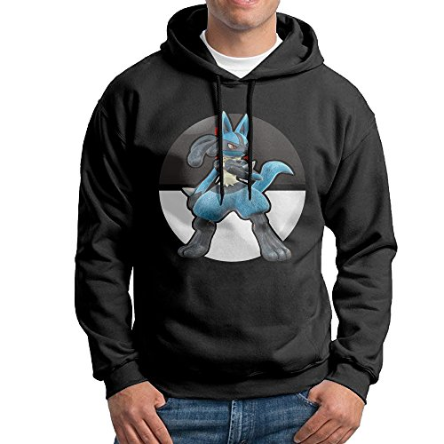 Bekey Men's Lucario Pullover Hoodie Sweatshirt L Black (Pokemon Pearl Lucario)