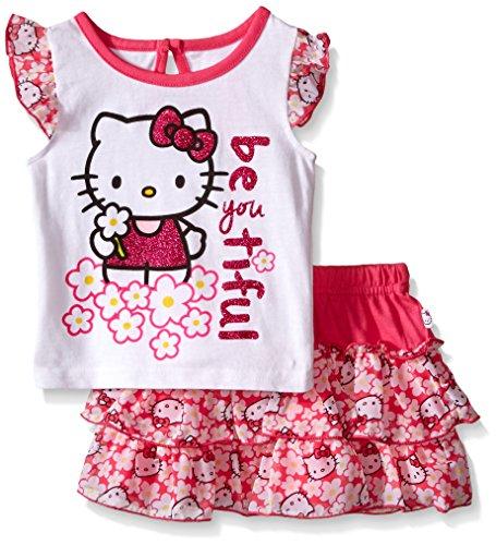 Hello Kitty Skirt (Hello Kitty Baby Girls' 2pc Top and Skirt Set, Multi/White, 18 Months)