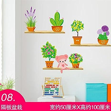 ALLDOLWEGE personalidad Salón Dormitorio decoraciones de pared autoadhesivas adhesivos puerta pared carteles de vivero de plantas en macetas fresca estilo de dibujos animados, mampara: Amazon.es: Bricolaje y herramientas