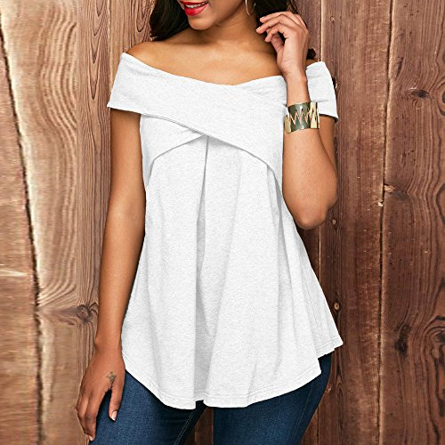 Casual Pullover Blouse T Chemisier Manche Col shirt Sweat Ete Sexy Rond Chic Femmes Pull Courte Crop Épaule Mode Top Gilet Chemise Hemd Tunique Reaso Haut Blanc Elegant shirt Onqwx75ng