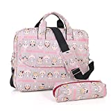 Comfysail 13-15Inch Cute Pattern Polyester Portable Messenger Laptop Shoulder Bag with Small Bag for MacBook Air, MacBook Pro, Notebook Computer (14 Inch, Cat)
