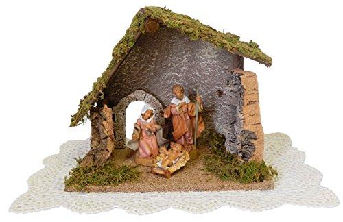 Fontanini by Roman Nativity Set and Figurines with Westbraid Doily (3-Piece Starter Set, Scene)