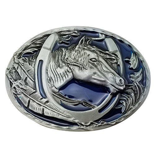 Lanxy Western Cowboy Leaf Horse Head Horseshoe Belt Buckle For Men Blue Enamel Grey (Horseshoe Horse Head)