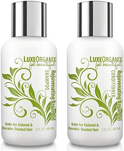 LuxeOrganix Travel Shampoo and Conditioner Set: TSA Approved, Cruelty and Sulfate-Free. Safe for Color Treated, Keratin Treated Hair. Travel in Luxury With Moroccan Argan Oil (2.0 Ounces Each)