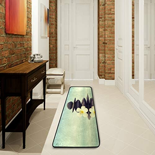 Vintage Zen Plumeria Flower Kitchen Rugs Non-Slip Soft Doormats Bath Carpet Floor Runner Area Rugs for Home Dining Living Room Bedroom 72 X 24