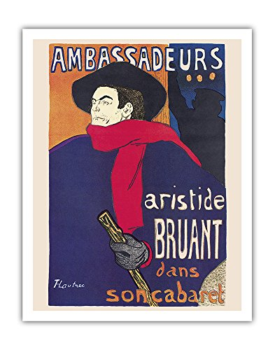 Ambassadeurs: Aristide Bruant dans son Cabaret (Ambassadors: Aristide Bruant in his Cabaret) - Art Nouveau - Vintage Theater Poster by Henri de Toulouse-Lautrec c.1892 - Fine Art Print - 11in x 14in ()