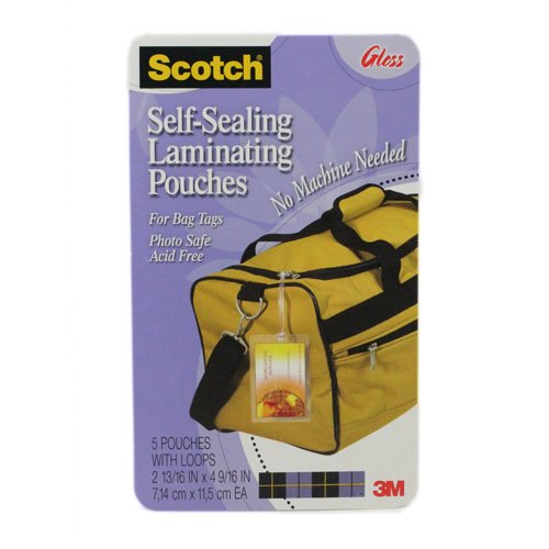 Chinook Scotch LS8535G Self-Sealing Laminating Pouches, 12.5 mil, 2 13/16 x 4...
