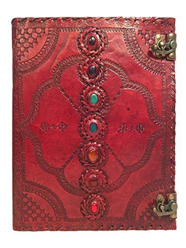 Seven Chakra Leather Journal Size 10 x 13 inches (Brown) by Urban Craft