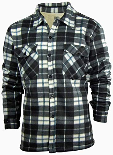 - Oakwood Mountain Big and Tall Men's Plaid Shirt Jacket with Sherpa Fleece Lining | Button Up Front (X-Large, Black/White/Blue)