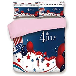 iPrint Pink Duvet Cover Set,King Size,Trippy Dog with Hand Gestures American Day Historical Party Artful Graphic,Decorative 3 Piece Bedding Set with 2 Pillow Sham,Best Gift for Girls Women,Multi