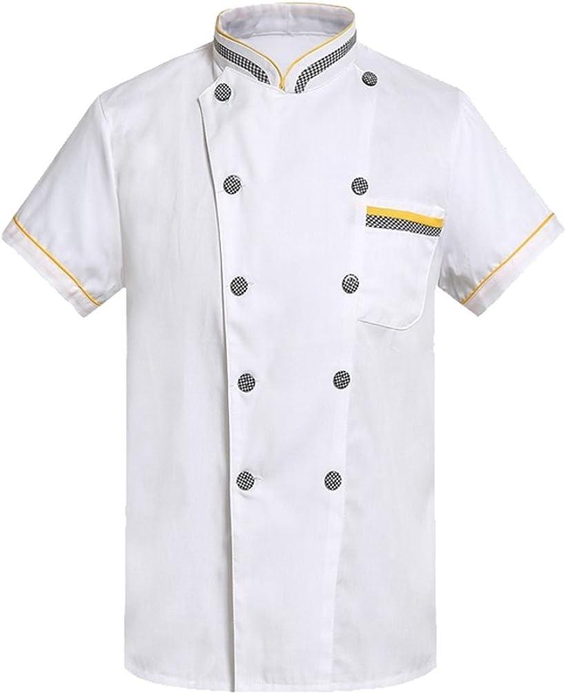 NiSengs Unisex Giacche da Chef Pocket Design Collare in Piedi Cuoco da Chef con I Pulsanti Sottile E Traspirante Camicie Baker