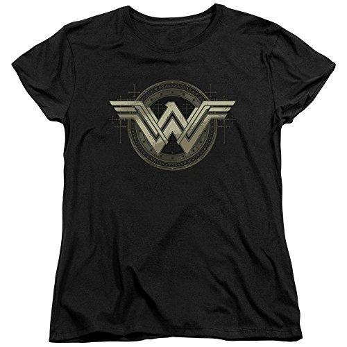 Wonder Woman Batman Vs Superman Movie Emblem Adult Womens T-Shirt Black (Medium)