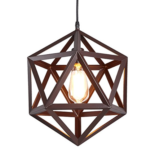 HOMIFORCE Industrial 1 Light Large Brown Wrought Iron Pendant Lights with Metal Cage Shade in Matte-Brown Finish-Modern Industrial Hanging for Kitchen Island,Close to The Ceiling(Tempel Bronze)