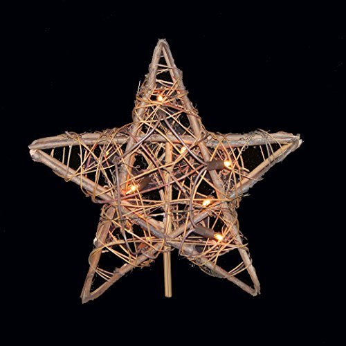 Natural Rattan 3D Star Christmas Tree Topper - Clear Lights by Kurt Adler