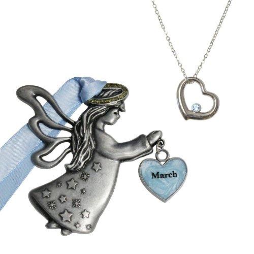 Gloria Duchin March Birthstone Angel Ornament Gift Set