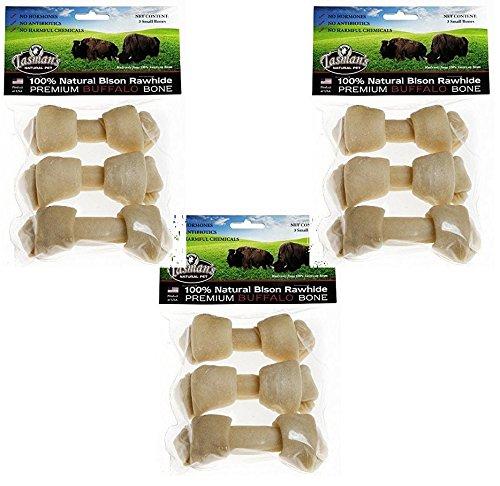 (3 Pack) Tasman's Natural Pet All-Natural Buffalo Rawhide Bones, 9 Bones Total - (3 Packs with 3 Bones Per Pack)