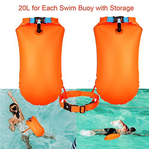 X.Store 2 Pack 20L Waterproof Swim Bouy with Storage Space Inflatable Pull Buoy Bright Color Swim Safety Float for Open Water Swimmers, Triathletes, Kayakers and Snorkelers (Orange)