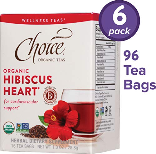 Choice Organic Teas Wellness Teas, 6 Boxes of 16 (96 Tea Bags), Hibiscus Heart