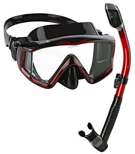 Phantom Aquatics Panoramic Scuba Mask Snorkel Set, Black Red Dive Mask Snorkel
