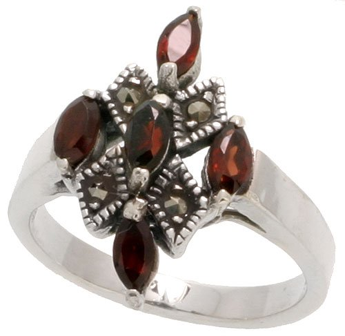 - Sterling Silver Marcasite Cross Ring, w/ Natural Garnet, 1