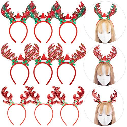 12pcs Christmas Reindeer Headbands, Reindeer Antlers Headband, Party Hair Hoop Hair Decorations Headwear Costume Props Favor for Xmas Holiday Easter Kid's Party Toddlers Accessories Gifts ()