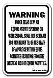 Texas Equine 12'' x 18'' Aluminum Sign warning statute horse farm