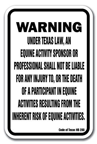 Texas Equine 12'' x 18'' Aluminum Sign warning statute horse farm by SignMission