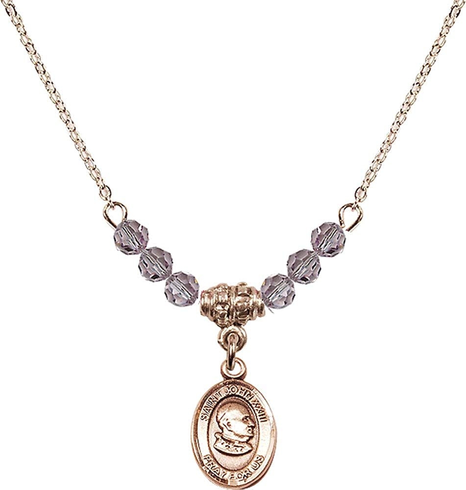 Bonyak Jewelry 18 Inch Hamilton Gold Plated Necklace w// 4mm Light Purple February Birth Month Stone Beads and St John XXIII