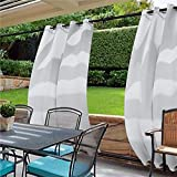 cololeaf Windproof Outdoor Curtain with Top and Bottom Grommet,Water Resistant and Mildew Resistant For Patio Cabana Porch Gazebo Panel Drapery,White 84W x 102L Inch (1 Panel)