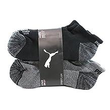 PUMA SPORTLUX Low Cut Sport Socks - 6 Pairs, Shoe Size 6-12, Black/Grey