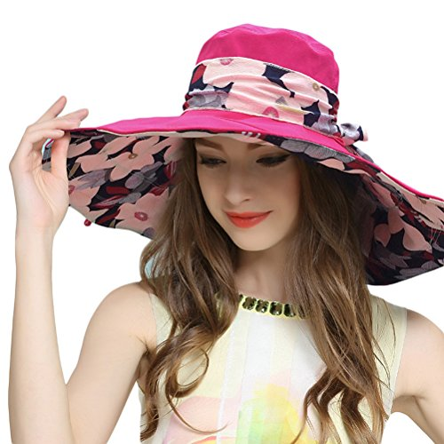 5f5acd5414a RIONA Women s Foldable Floppy Reversible Wide Brim Sun Beach Hat with  Bowknot UPF 50+