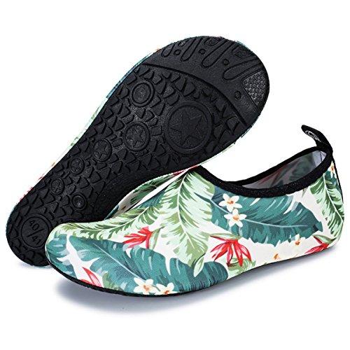 Mens Barerun Socks Outdoor Beach Floral Sport Green Aqua Yoga Swim for Surf Shoes Womens Water rTYTxqn1w5