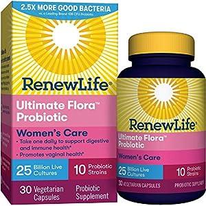 Renew Life #1 Women's Probiotic - Ultimate Flora Women's Care Shelf Stable Probiotic Supplement - Gluten, Dairy & Soy Free - 25 Billion CFU - 30 Vegetarian Capsules