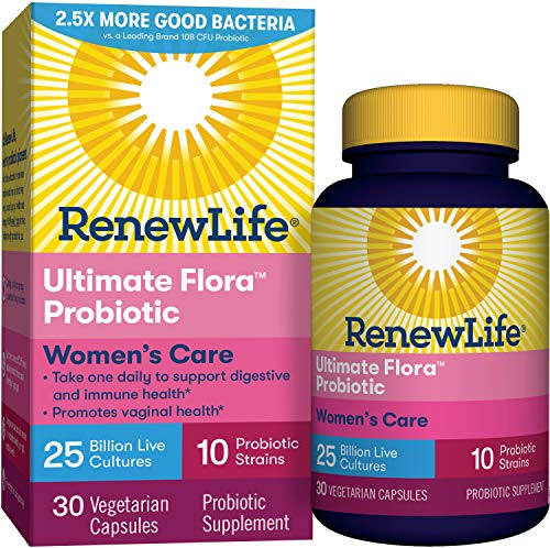 Renew Life #1 Women's Probiotics 25 Billion CFU Guaranteed, 10 Strains,  Shelf Stable, Gluten Dairy & Soy Free, 30 Capsules, Ultimate Flora Women's Care – 60 Day Money Back Guarantee