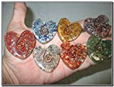 Energized Chakra Orgone Flat Heart Design Set A++ Healing Chokurei Chakra Balancing EMF Protection Gemstone Divine Spiritual Love Bonding Gift Metaphysical Spiritual Elements Business Success Crystal Therapy Semiprecious Stones