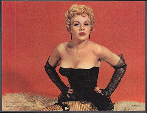 Study in Black calendar pin-up print 1962 blonde black bustier & gloves